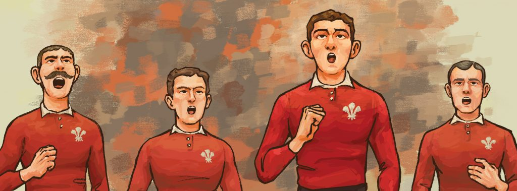 Teddy Morgan leads the national anthem for Wales in 1905 against the All Blacks