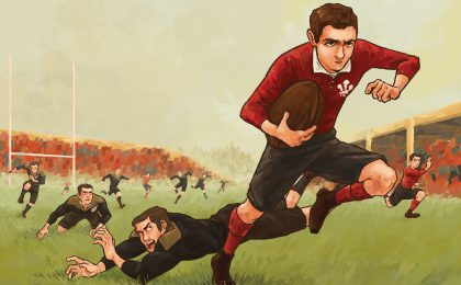 Teddy Morgan scores against the 1905 All Blacks for Wales